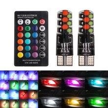 T10 W5W светодиодный огни автомобиля светодиодный лампы с сигналами красного, зеленого и синего цвета с дистанционного Управление 194 168 501 стробоскоп светодиодный светильник Лампы для чтения, красные, зеленые, синие, 12V