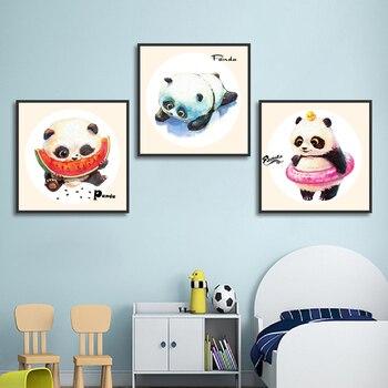 Minimalismo estilo lindo Panda sandía natación regazos pósteres para decorar el hogar lienzo pintura impresión cuadro de pared para sala de estar