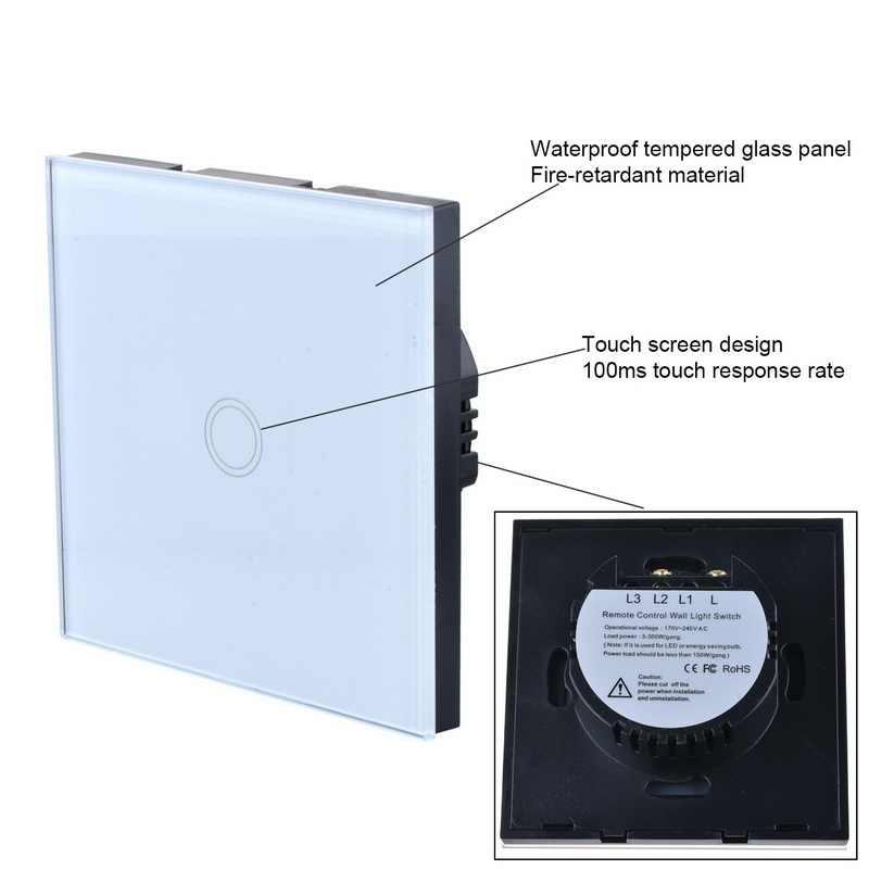 UK EU Standard Wand Touch Schalter Wand Licht Schalter Kristall Glas Panel sensor schalter 1 Gang AC220V