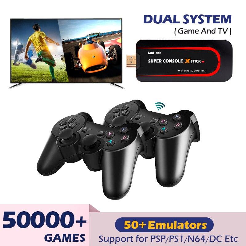 Супер консоль X Stick мини видео игровые консоли 4K HD Wi-Fi Портативный ретро эмулятор ТВ-игр консоль для PSP/N64 с 50000 + игрой