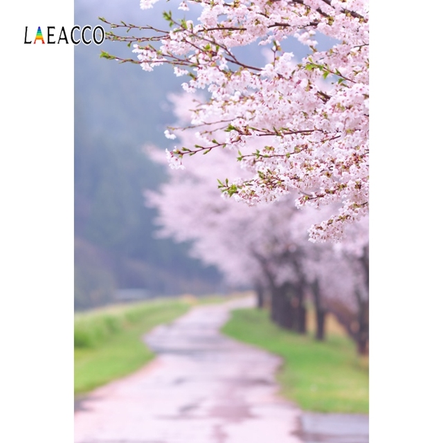 Laeacco весенний портрет Фотофон лес цветущие деревья дорога фотография фоны для новорожденных фотозона