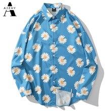Daisy impresión completa Camisetas de Hip Hop verano playa manga larga camisas hawaianas hombres Casual Harajuku camiseta de Aloha Retro hombres Tops ropa