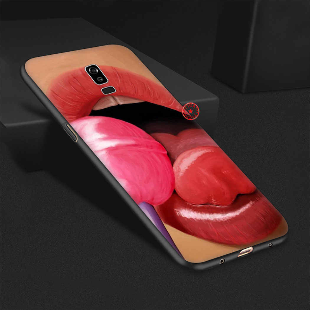 Sıcak kız kaltak kırmızı dudaklar renk siyah yumuşak silikon samsung kılıfı Galaxy A70S A20E A2 J4 J6 çekirdek artı başbakan J7 duo J8 TPU kılıf