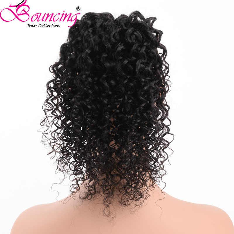 Подпрыгивающий глубокий волнистый хвост бразильский Реми волосы клип в хвосты шнурок натуральный черный 100% человеческие волосы для наращивания для женщин