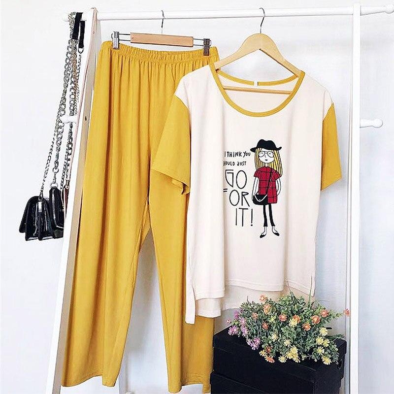 L-4XL Cute Cartoon Pajamas Set Printing Lingerie Short Sleeves Long Pants Sleepwear Set Female Plus Size Nightwear Girls Pajamas