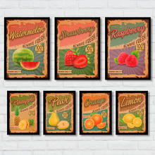Fresh Delicious Fruit Poster Beautiful Design Painting Wall Art Sticker Vintage Kraft Paper Supermarket Fruit Shop Decor 42x30cm(China)