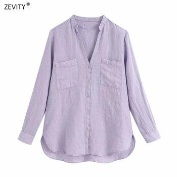 Zevity New Women Fashion Double Pockets Casual Purple Color Linen Smock Blouse Shirt Women Business Femininas Blusas Tops LS6798