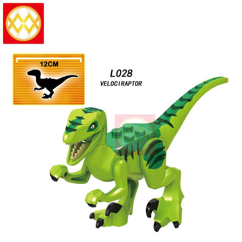 Il trasporto Libero Del Mondo di Dinosauri Animali Carnotaurus T-Rex Dinosauro Velociraptor Blu Blocchi di Costruzione Per Bambini Regalo Bambola Giocattoli Juguetes