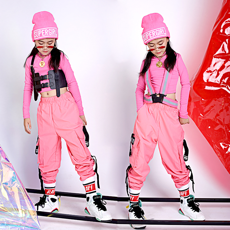 Kids Hip Hop Clothing Pink Suits For Girls Jazz Dance Costume Ballroom Dancing Clothes Performance Wear Stage Outfits DQS2957