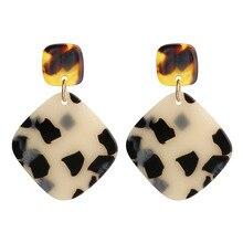Fashion Simple Acetate Acrylic Earrings For Women 2020 New Geometry Square Tortoiseshell Oorbellen Orecchini