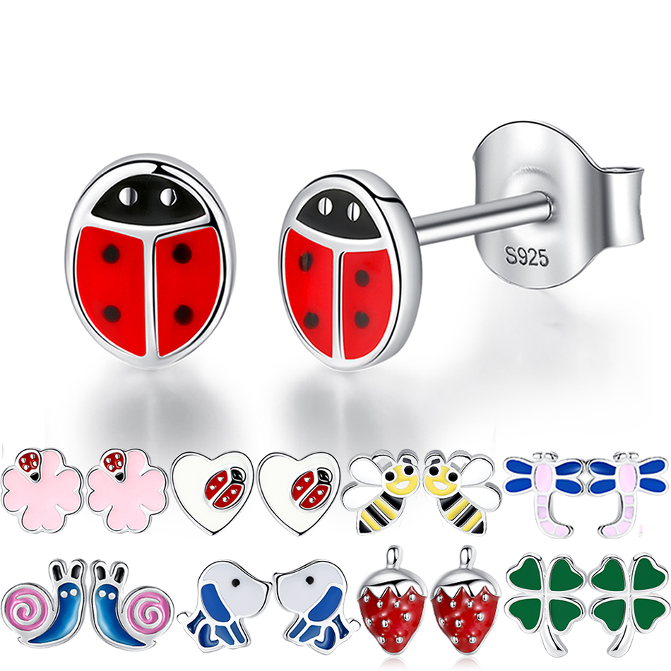Fashion 925 Sterling Silver Earrings Children Jewelry Red Enamel Animal Ladybug Small Stud Earrings For Kids Girls Baby