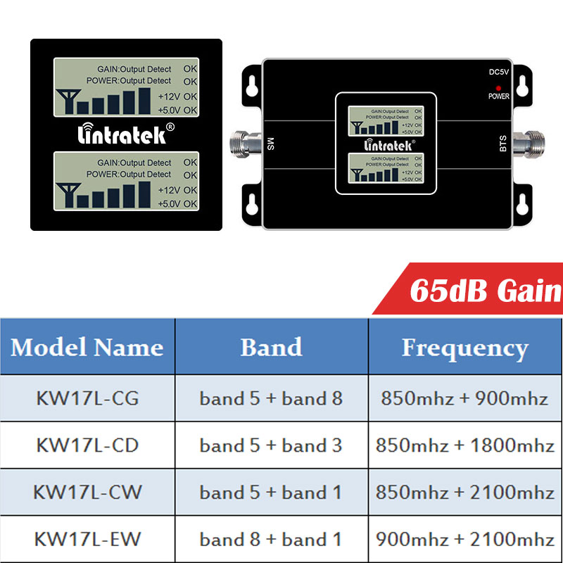 Image 3 - Lintratek CDMA 850 1800 dcs 2g 3g GSM WCDMA 2100 EGSM dual band repeater cellphone signal gsm umts booster 4g amplifier LCD dd-in Signal Boosters from Cellphones & Telecommunications
