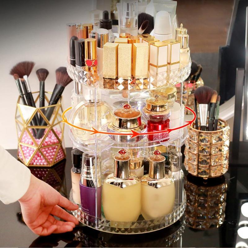Rotating Makeup Organizer Brush Holder Large Capacity Cosmetic Storage Box