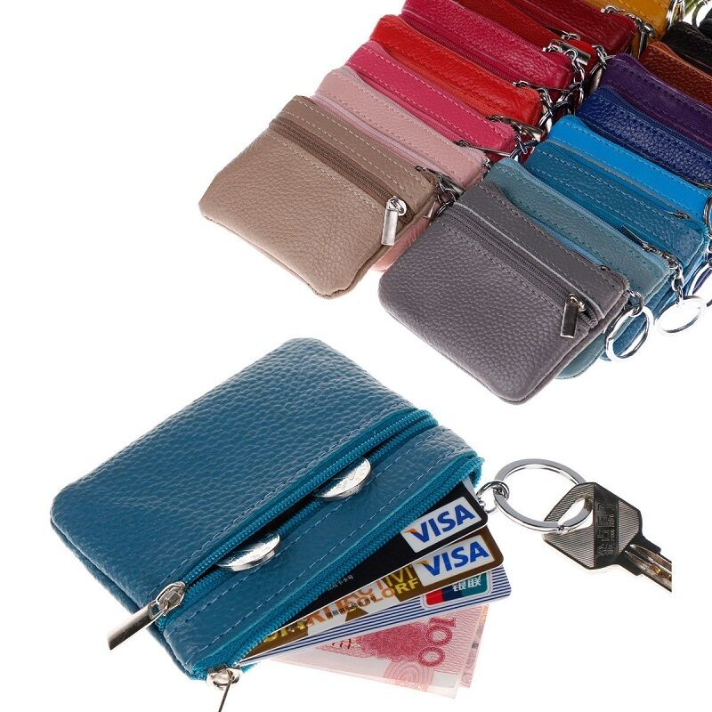 Men Women ID Card Holder Durable Simple Coin Purses Travel Genuine Leather Credit Card ID Bag Clutch Zip Small Casual Coin Purse
