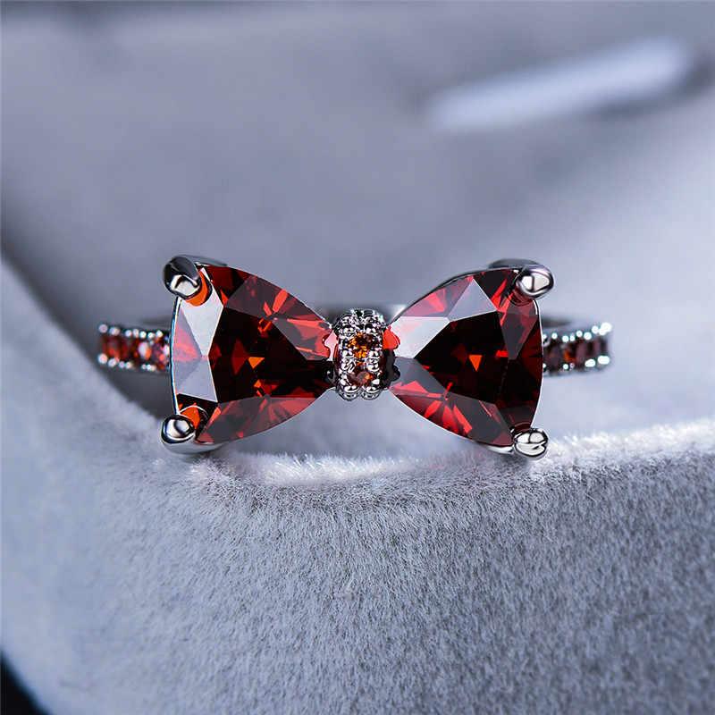 Leuke Vrouwelijke Grote Strik Zirkoon Stenen Ring Eenvoudige Paars Blauw Rood Regenboog Wedding Ring Rose Gold Liefde Engagement Ring