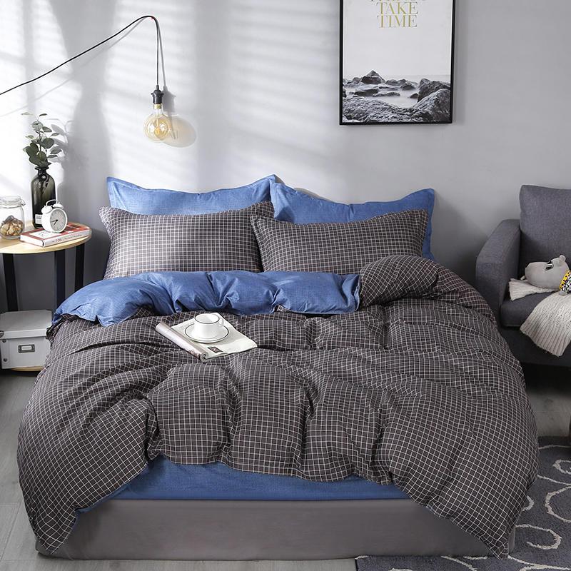 Grid Printing Duvet Cover Sets King Activity Bedding Sets RU USA  EU  Size,Quilt Cover Sheet Set Bedroom Bedding Bed Linen Grey