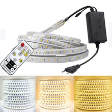 RGB LED 스트립 라이트 키트 원격 컨트롤러 디 밍이 가능한 부드러운 빛 LED 테이프 방수 AC220V SMD 5050 LED 리본 유연한 스트립