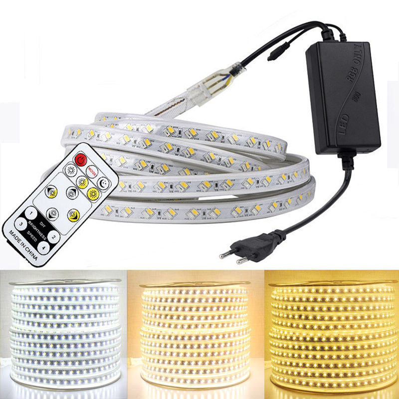 RGB LED Strip Light Kit With Remote Controller Dimmable LED Tape Waterproof AC220V SMD 5050 LED Ribbon Flexible Strips For