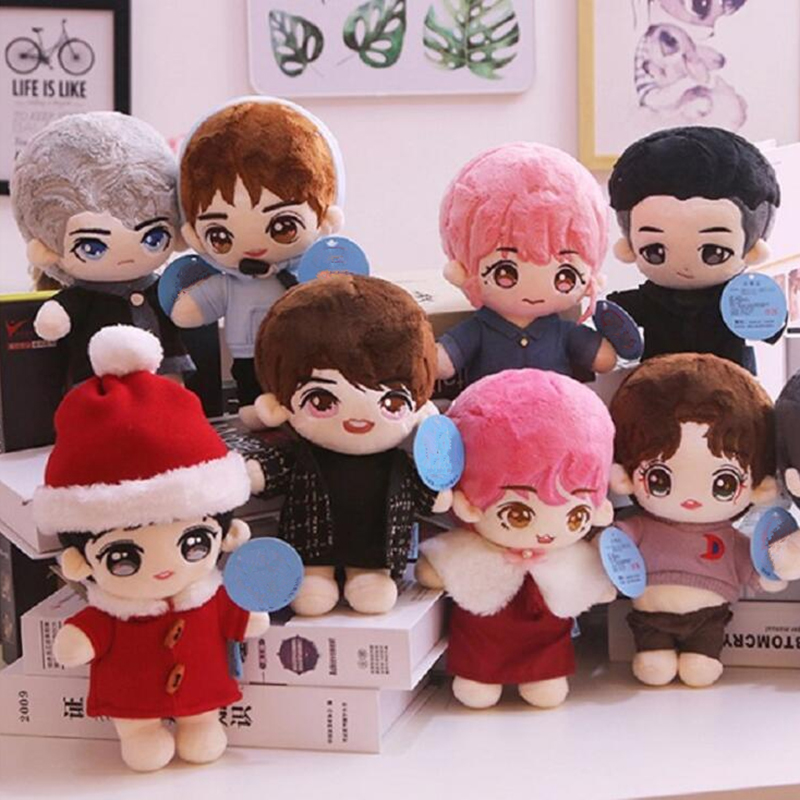 20cm Cartoon Star Doll Plush Toy Cute Kpop Boy Doll Filled Plush Pillow Soft Toy Plush Doll With Clothing Christmas Gifts