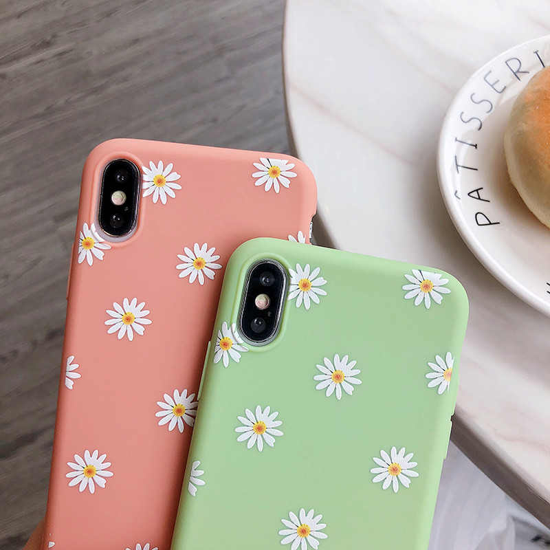 Kowkaka Cute Cartoon Daisy etui na telefony dla iPhone 11 Pro X XR XS Max 6 6s 7 8 Plus SE 2020 miękki kwiat miłość serce Fundas okładka