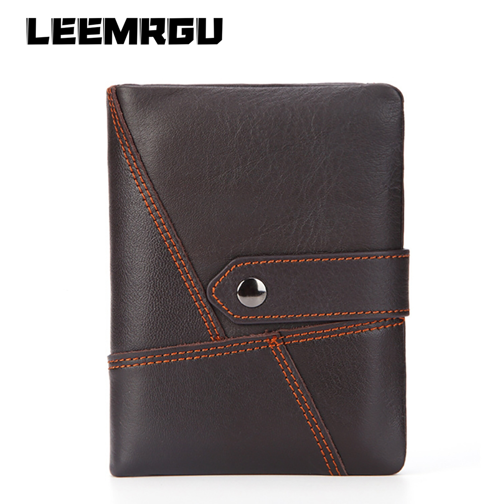Fashion men leather wallet short paragraph leather wallet stitching soft slim leather high quality cash bus card retro wallet