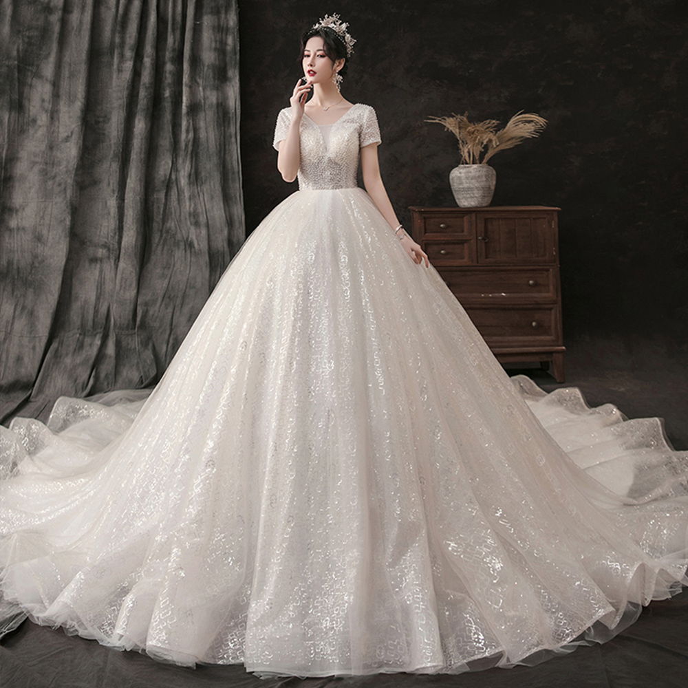 Custom Made Shiny Gorgeous Ball Gown Wedding Dress Plus Size Aliexpress Login Short Sleeve Lace Up Princess Bridal Gowns(China)