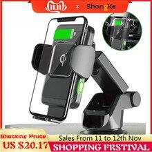 Chargeur de voiture sans fil 10W Auto pince 2-en-1 Qi chargeur rapide support de téléphone pour tableau de bord de prise d'air de voiture pour iPhone X 8 Samsung S9