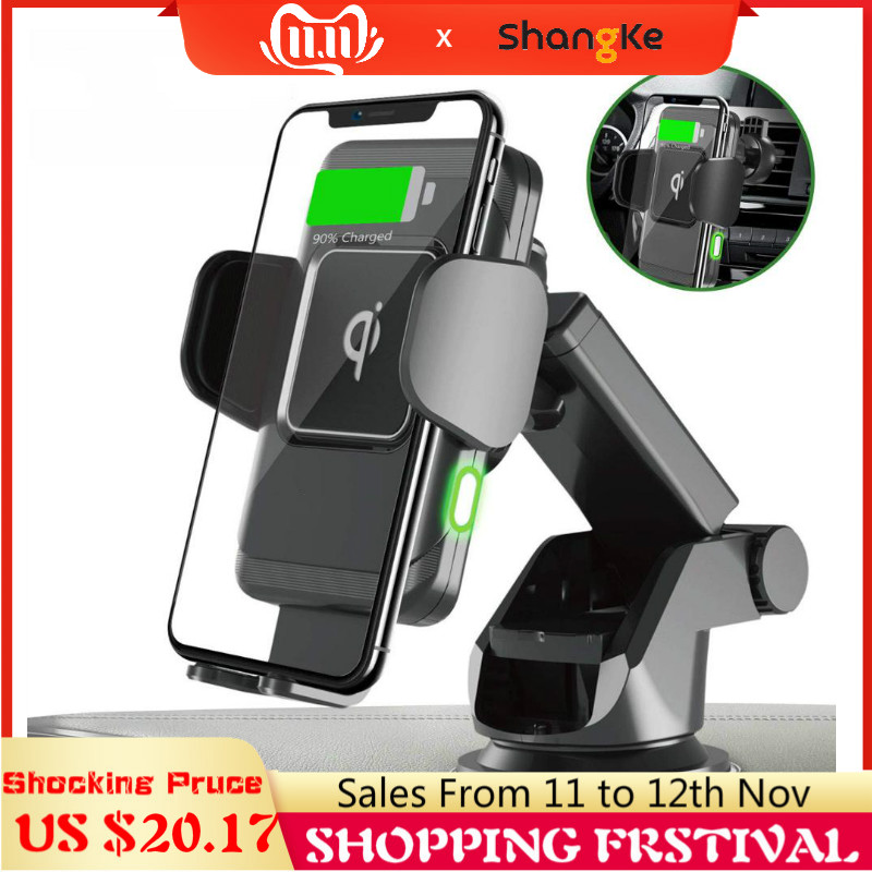 Wireless Car Charger 10W Auto Clamp 2-in-1 Qi Fast Charger Car Mount Air Vent Dashboard Phone Holder For IPhone X 8 Samsung S9