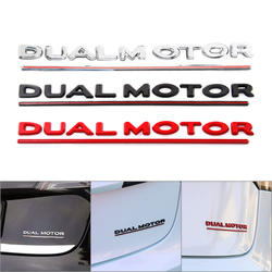 Dual Motor Decals 3D Emblems For Tesla Model 3 High Performance Trunk Badge Car Sticker Chrome Black Red Letters