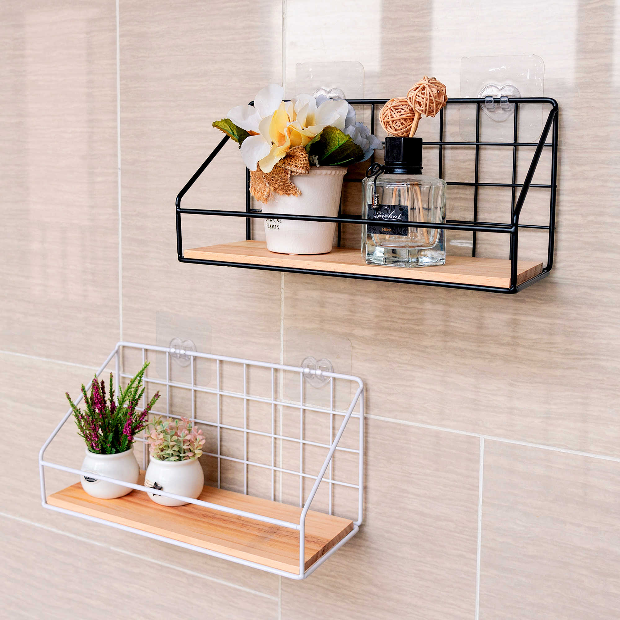 Wooden Iron Wall Shelf Wall Mounted Storage Rack Organization For Kitchen Bedroom Home Decor Kid Room Diy Wall Decoration Holder Decorative Shelves Aliexpress