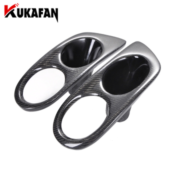 2pcs Real Carbon FiberCar Fog Light Covers Lamp Hoods for BMW 3 Series E46 M3 2 Doors 2001-2006 Surround Air Duct Frame Hole image