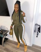 Strap Stitching Hooded Sweater Plus Size Two-piece Suit Slim Sports Jogger Outfit Set Khaki Two Piece Tracksuit Casual Clothing
