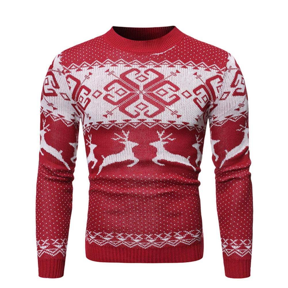 2020 Xmas Chic Men Elk Print O Neck Long Sleeve Pullover Sweater Blouse Top Christmas Sweater Causal Funny Xmas Male Top
