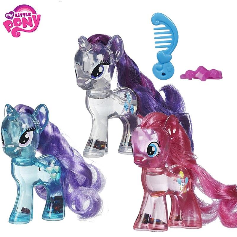 Original Brand My Little Pony Crystal Clear Rainbow Girls Dash Pinkie Rarity Toys For Children For Baby Birthday Gift Bonecas
