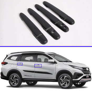 For 2017 2018 2019 Toyota RUSH (F800/F850) Carbon Fiber Style Door Handle Cover With Smart Key Hole Catch Cap Trim Molding image