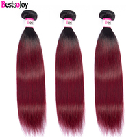 Bestsojoy 3Pcs Brazilian Straight Hair Weave Bundles 8 26 Remy Human Hair 1B/99j Ombre Hair Bundles Extension Deal