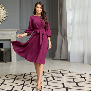 Women Vintage Sashes A-line Party Dress Three Quarter Sleeve O neck Solid Elegant Casual Dress 2020 Summer New Fashion Dress
