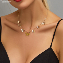 Cute Butterfly Choker Necklace For Women Gold Silver Chain Statement Collar Female Chocker Best Shining Jewelry chic butterfly choker necklace for women gold silver chain statement collar female chocker best shining jewelry party 2020 new