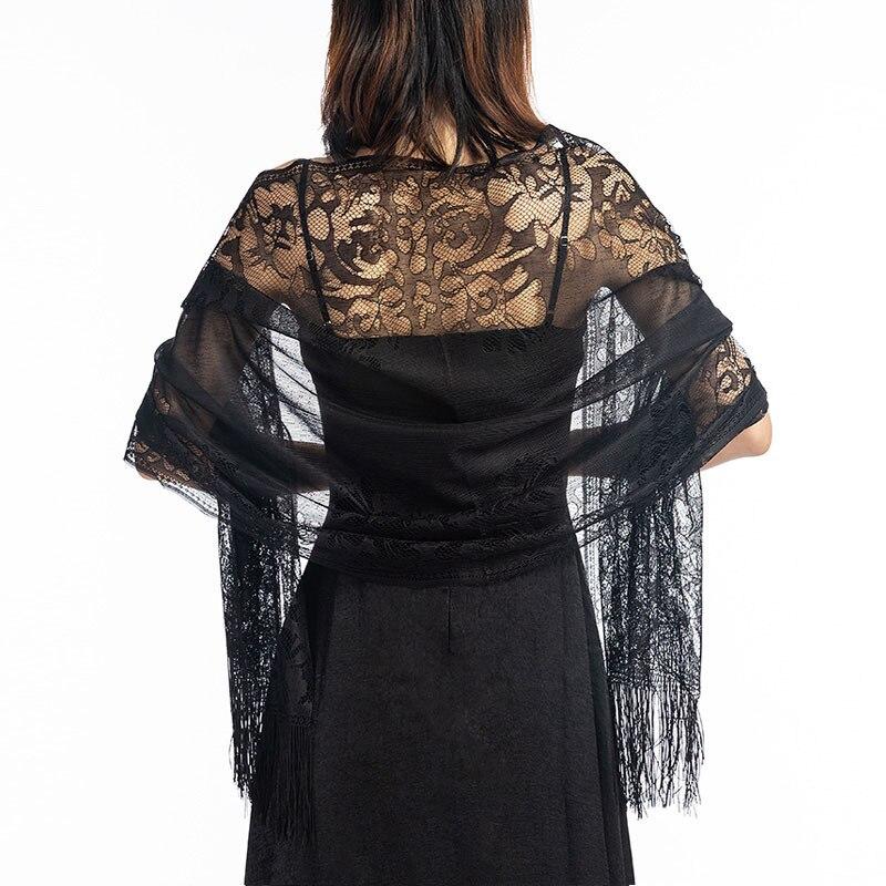 Women Solid Party Evening Lace Shawl   Scarf   Elegant Lace Sheer Hollow Tassel   Scarves     Wraps   Foulard Femme Mesh Yarn Wedding Shawl