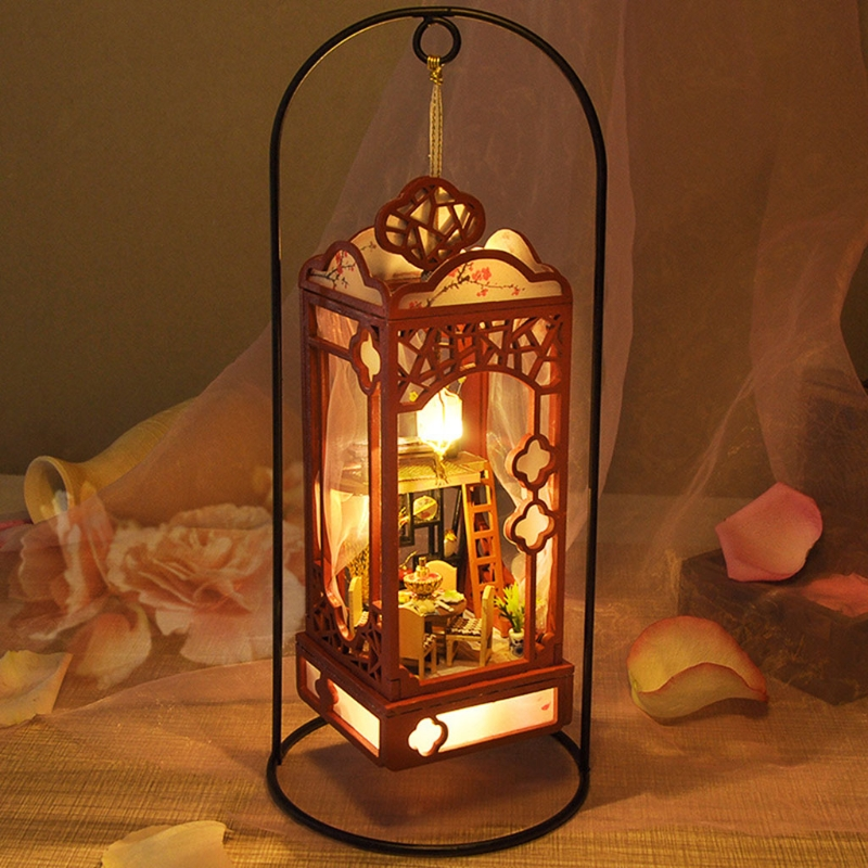 Creative DIY Cottage Handmade Model with LED Retro Doll House Cabin Children Educational Toys