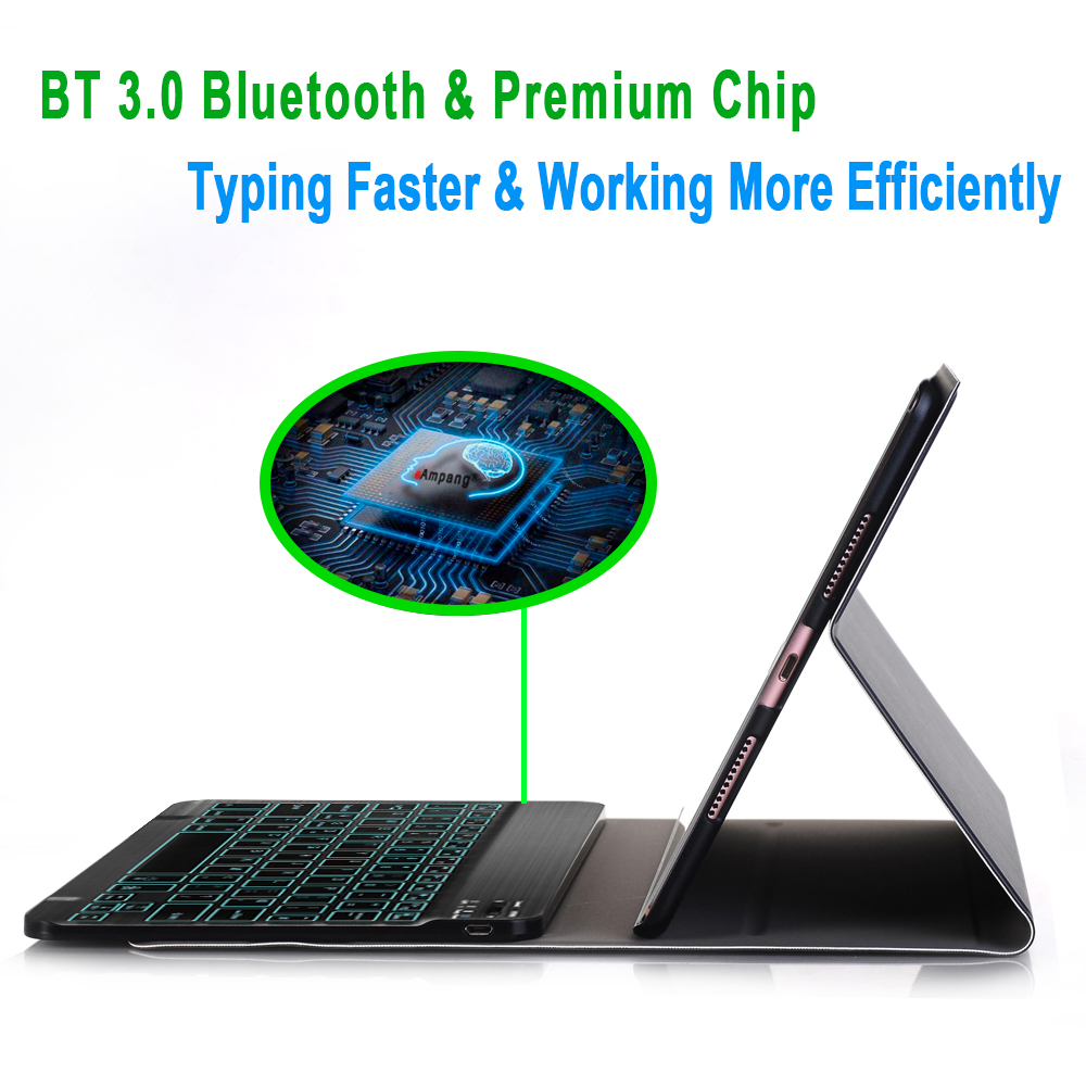 7 Colors Backlit 3 0 Bluetooth Keyboard Case for iPad 10 2 Keyboard Case for Apple