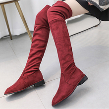 Slip On Sexy Boots Over The Knee Boots Women Soft Red Black Boots 2019 New Winter Fall Boots Women Fashion Platform Boots Ladies