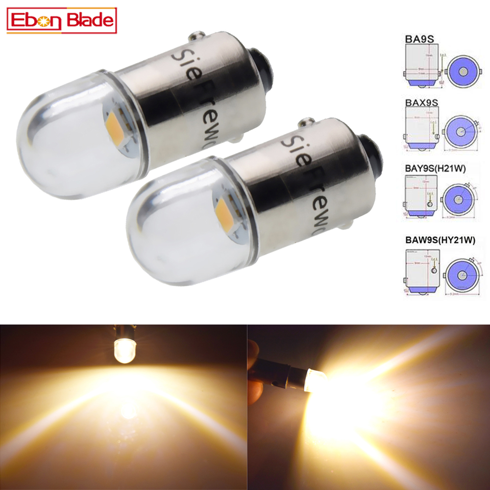 2X BA9S T4W BAX9S H6W BAY9S H21W BAW9S HY21W Car Led Light 2835 1SMD Auto Interior Dome Map Reading Bulb Lamp Warm White 12V 24V