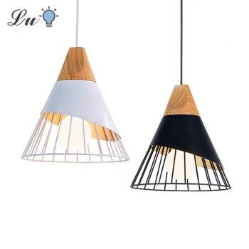 цена LED Wood Pendant Light Bedroom Living Room Decoration Hang lamp 90-260v Restaurant Kitchen Hanging Lamp Indoor Lighting Fixture онлайн в 2017 году