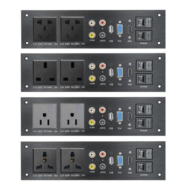 Liga de alumínio multimídia, usb vga, rede hdmi, interface uk/eu/us/cn tomada elétrica placa de energia china plug adaptador