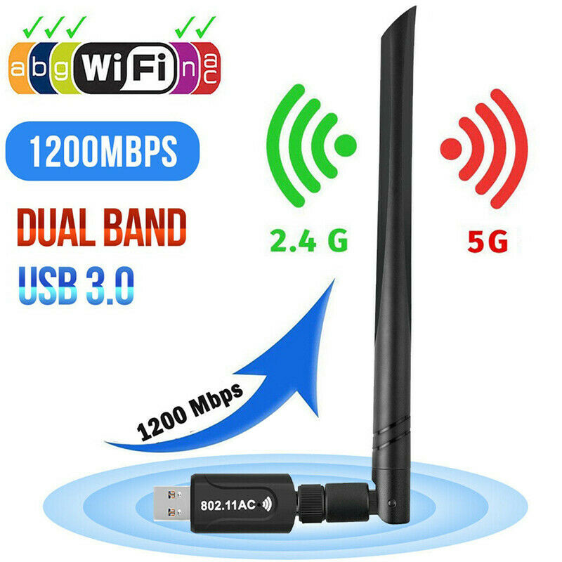 1200Mbps USB 3.0 Wireless WiFi Network Receiver Adapter 5GHz Dual Band Dongle Wireless Network Card Wi-fi Receiver Adapter New(China)
