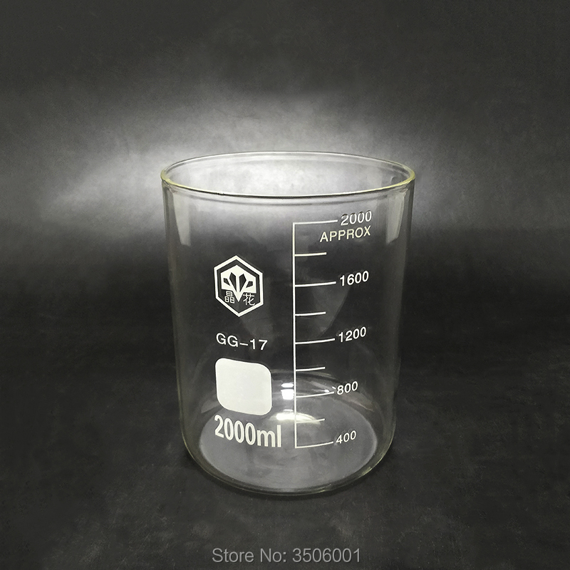 Beaker in low form without spout,Capacity 2000ml,Outer diameter=132mm,Height=165mm,Laboratory beaker