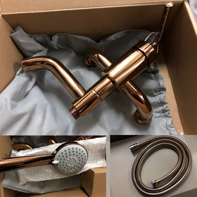 Rose Gold Bathtub Faucet Rotatable Bathroom Shower Water Mixer With Hand Hled Shower Head & 1.5 Meter Hose Black & Chrome
