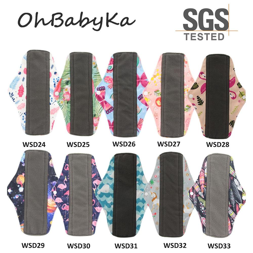 10PCS Women Menstrual Pads Reusable Sanitary Napkin Absorbent Reusable Charcoal Bamboo Menstrual Pads Washable Sanitary Towel