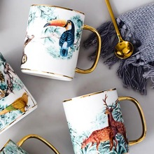 Ceramic Coffee Mug Cup With Lid Spoon Gold Plating Handle 350ml Handpanited Animal Pattern Nordic Royal Style goalone 350ml ceramic coffee mug with wood handle nordic tea cup with lid and spoon travel coffee cup drinkware for home office